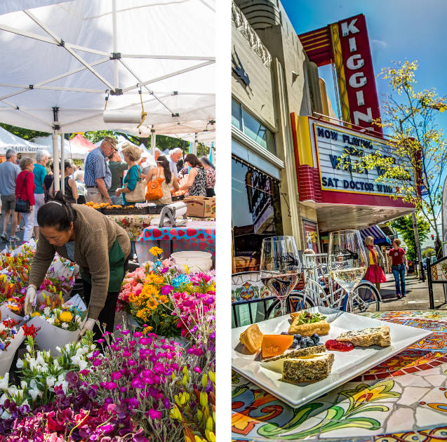 farmers market and kiggins theater