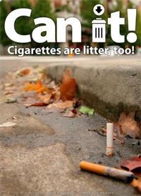 cigarette butts near sidewalk